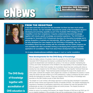 November e-news gives an update on the OHS Body of Knowledge